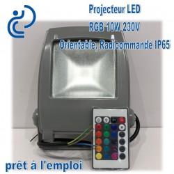Projecteur RGB Radiocommandé 10W SLIMLINE