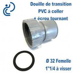 """DOUILLE DE TRANSITION PVC D32 FEMELLE A COLLER / 1""""1/4 A VISSER"""