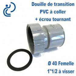 """DOUILLE DE TRANSITION PVC D40 FEMELLE A COLLER / 1""""1/2 A VISSER"""