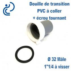"""DOUILLE DE TRANSITION PVC D32 MALE A COLLER / 1""""1/4 A VISSER"""