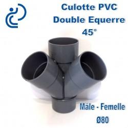 CULOTTE PVC DOUBLE EQUERRE 45° MF D80