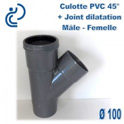CULOTTE PVC 45° MF D100 + JOINT DE DILATATION