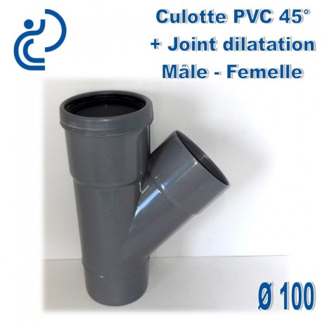 CULOTTE PVC 45° MF D100 + JOINT DE DILATATION