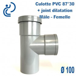 CULOTTE PVC 87.30° MF d100 + joint de dilatation