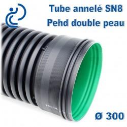 Tube annelé Double Paroi PEHD D300 barre de 3ml AQUATUB