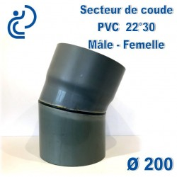 Secteur de Coude 22°30 D200 PVC MF