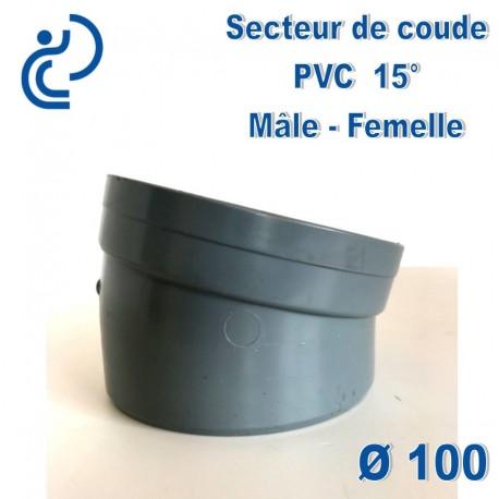 Secteur de Coude 15° D100 PVC MF