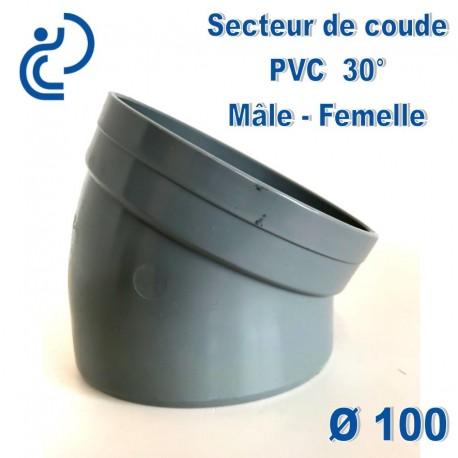 Secteur de Coude 30° D100 PVC MF