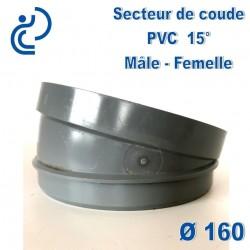 Secteur de Coude 15° D160 PVC MF