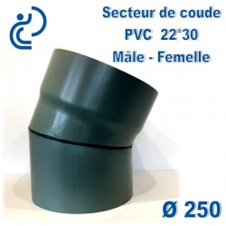 Secteur de Coude 22°30 D250 PVC MF
