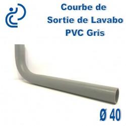 Courbe 90° de Sortie de Lavabo D40 PVC Gris