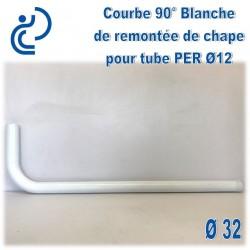 Courbe Blanche 90° D32 pour remontée de chape de tube PER D12