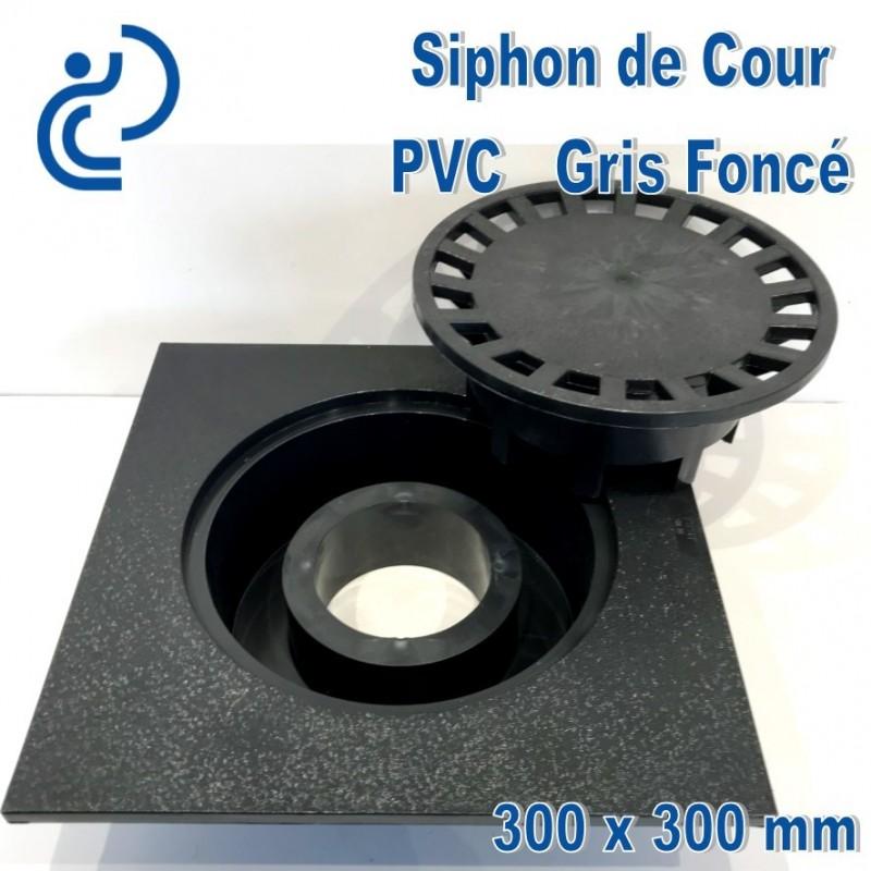 siphon de cour pvc anti choc 300x300 gris fonc. Black Bedroom Furniture Sets. Home Design Ideas