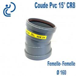 Coude pvc CR8 15° D160 FF