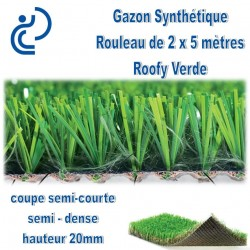 "Gazon Synthétique ""ROOFY VERDE"" rouleau de 2mx5m"
