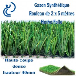 Gazon Synthétique en rouleau de 2mx5m HERBE FOLLE