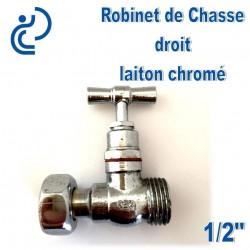 """Robinet de chasse en laiton chrome droit 1/2"""""""