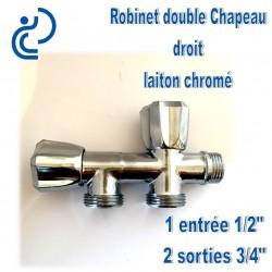 """Robinet double chapeau droit 1/2"""" et 3/4"""" en laiton chrome"""
