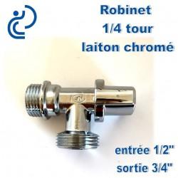 Robinet 1/4 de tour 1/2-3/4 en laiton chrome