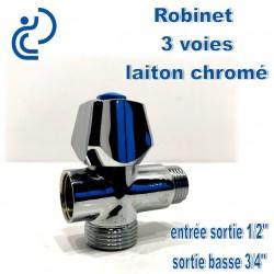 """Robinet 3 voies en 1/2"""" en laiton chrome"""
