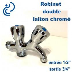"""Robinet double sans mousseur 1/2"""" et 3/4"""" en laiton chrome"""