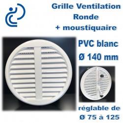 GRILLE DE VENTILATION REGLABLE EN PVC BLANC 75-125