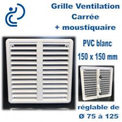 GRILLE DE VENTILATION REGLABLE EN PVC BLANC D75/125