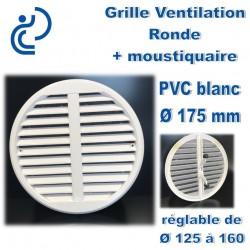 GRILLE DE VENTILATION REGLABLE EN PVC BLANC 125-160