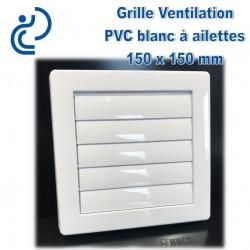 GRILLE DE VENTILATION A AILETTES EN PVC 15X15 BLANC
