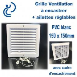 Grille de ventilation en PVC blanc 15x15