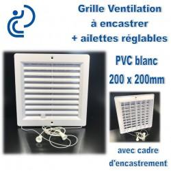 Grille de Ventilation PVC Blanc à encastrer 20x20 avec cadre + ailettes réglables