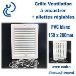 Grille de Ventilation PVC Blanc à encastrer 15x20 avec cadre + ailettes réglables