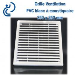 Grille de Ventilation Carrée PVC Blanc 25x25 à moustiquaire