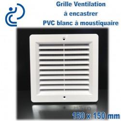 Grille de Ventilation PVC Blanc Carrée à encastrer 15x15 avec cadre + moustiquaire