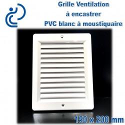 Grille de Ventilation PVC Blanc Carrée à encastrer 15x20 avec cadre + moustiquaire