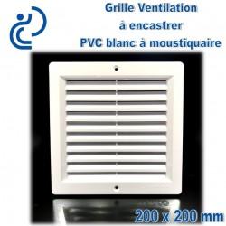 Grille de Ventilation PVC Blanc Carrée à encastrer 20x20 avec cadre + moustiquaire