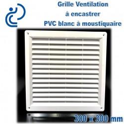 Grille de Ventilation PVC Blanc Carrée à encastrer 30x30 avec cadre + moustiquaire