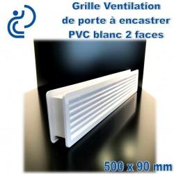 Grille de Ventilation de Porte 50x9 2 faces à encastrer PVC Blanc