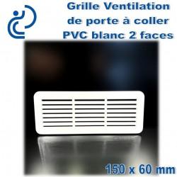 Grille de Ventilation de Porte 15x6 2 faces à coller PVC Blanc