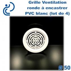 Grille de Ventilation Ronde à encastrer D50 PVC Blanc (lot de 4)