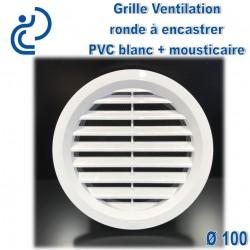 Grille de Ventilation Ronde D100 à encastrer PVC Blanc avec moustiquaire