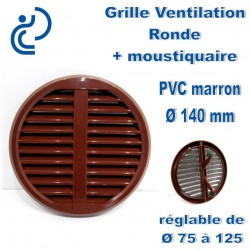 GRILLE DE VENTILATION REGLABLE D75/125 EN PVC MARRON