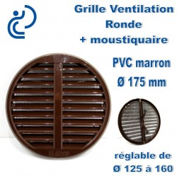 GRILLE DE VENTILATION REGLABLE D125/160 EN PVC MARRON