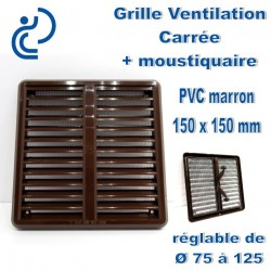 GRILLE DE VENTILATION CARREE REGLABLE EN PVC MARRON D75/125