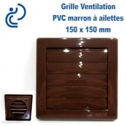 GRILLE DE VENTILATION A AILETTES EN PVC 15X15 MARRON