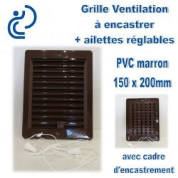 Grille de Ventilation PVC Marron à encastrer 15x20 avec cadre + ailettes réglables