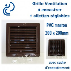 Grille de Ventilation PVC Marron à encastrer 20x20 avec cadre + ailettes réglables