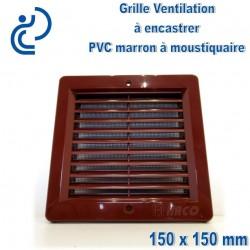 Grille de Ventilation PVC Marron Carrée à encastrer 15x15 avec cadre + moustiquaire