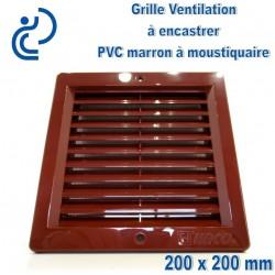 Grille de Ventilation PVC Marron Carrée à encastrer 20x20 avec cadre + moustiquaire