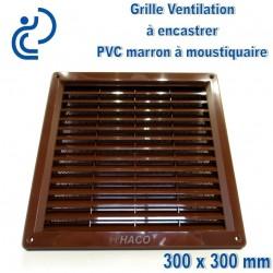 Grille de Ventilation PVC Marron Carrée à encastrer 30x30 avec cadre + moustiquaire